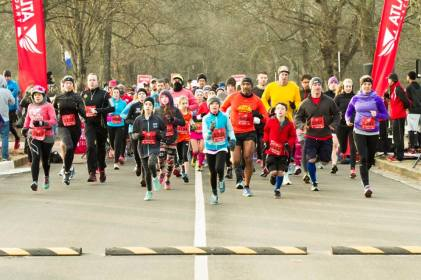 Flying at the start of the Hearts & Soles 5k (I'm all the way on the left)